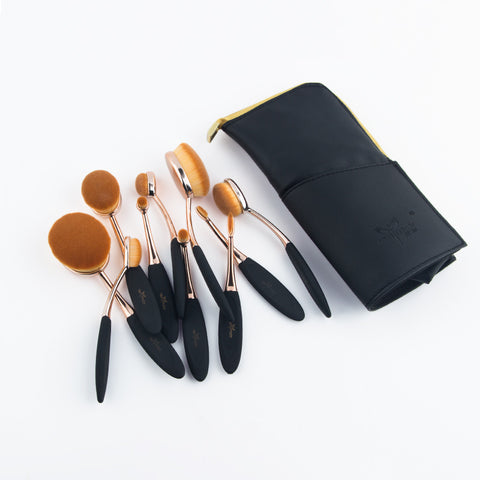 Anmor Professional Rose Gold Oval Makeup Brushes Set Bag - 10 Piece set