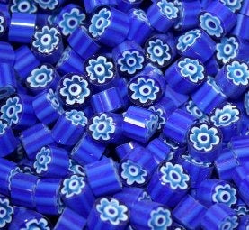 Millefiori 104 Cobalt Blue White Flower (T62) 25gm