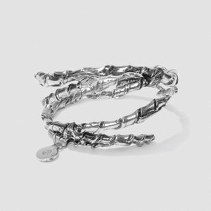 Double Ivy Bangle - Silver plate White Bronze