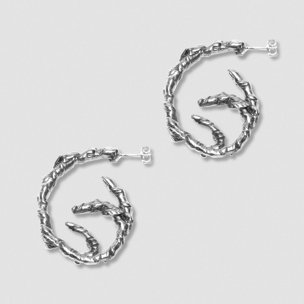 Coiled Ivy Earrings - Silver plate White Bronze Sterling Silver Post