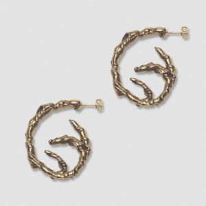 Coiled Ivy Earrings -  Bronze and Sterling Silver post