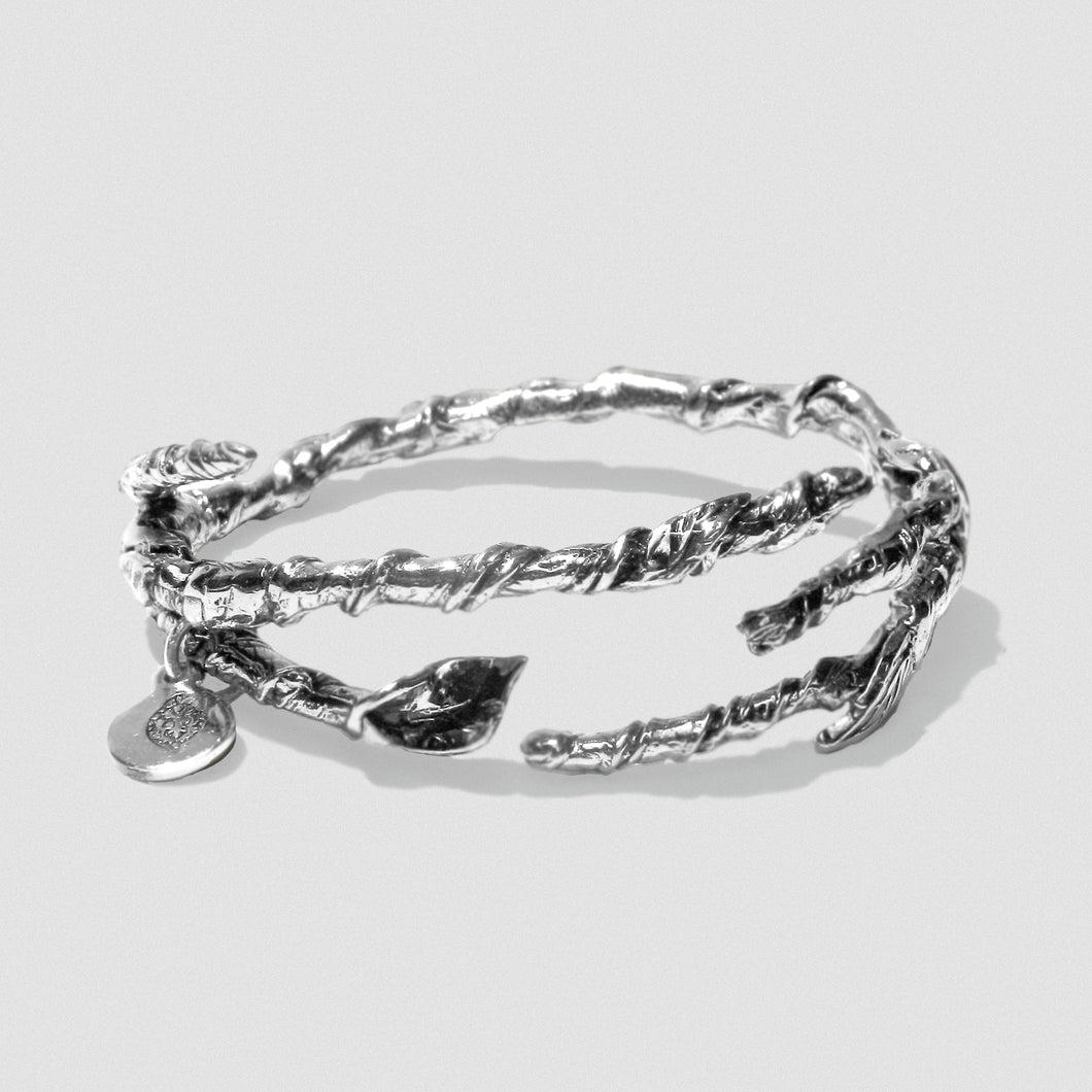Single Ivy Bangle - Silver Plate White Bronze
