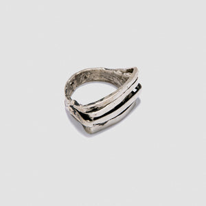 Wide Staple ring - White Bronze
