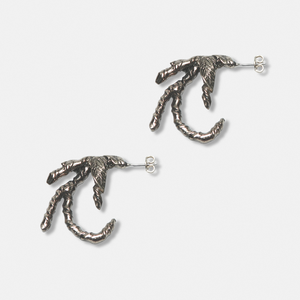 Ivy Claw Earrings - White Bronze with Sterling Silver post
