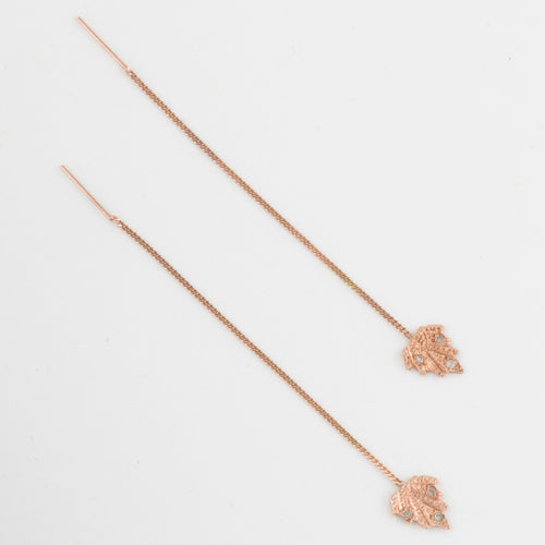 Spear chain threader earring - 14k Gold with diamonds