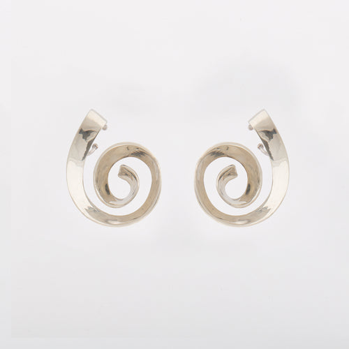 Spiral earcuff earrings - White Bronze