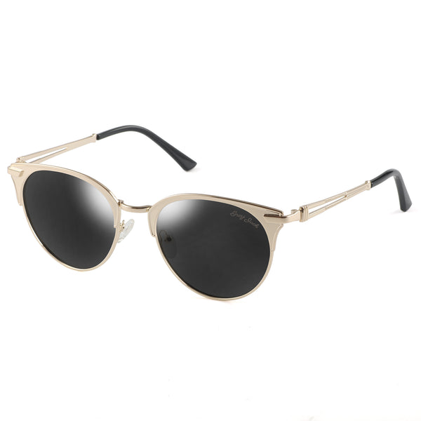 GREY JACK Polarized Metal Half Frame Cat Eye Mirrored Sunglasses for Men and Women S0834