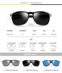 GREY JACK Rectangular Rimmed Polarized Sunglasses for Men Women S0916