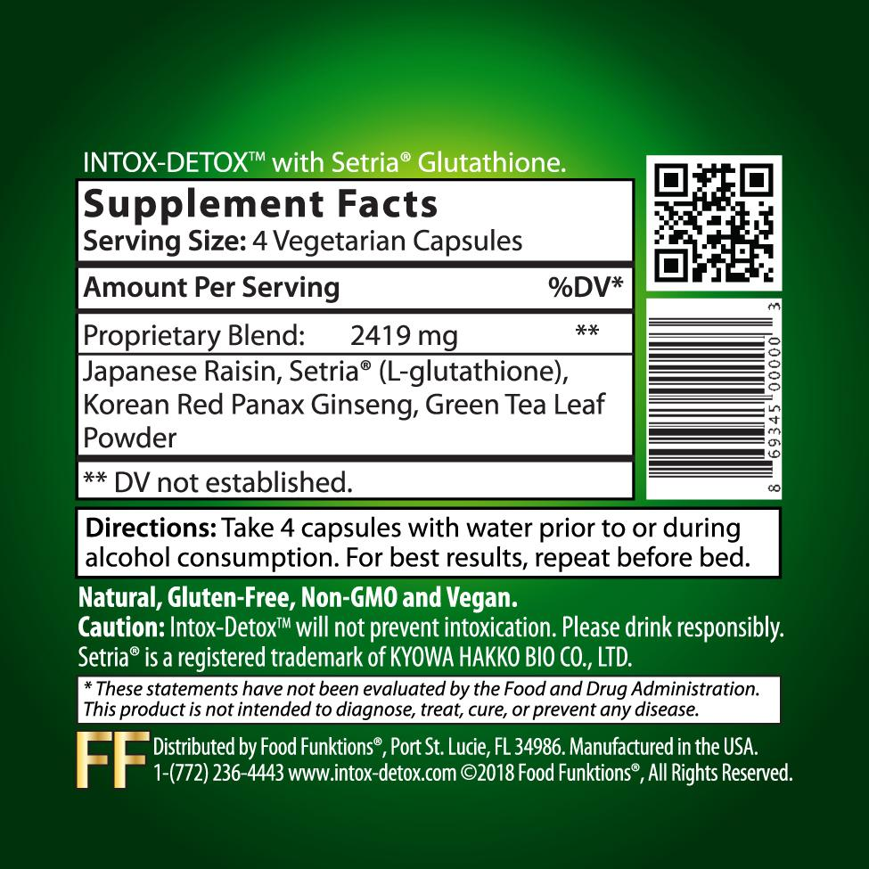 Intox-Detox Supplement Facts Hangover Remedy