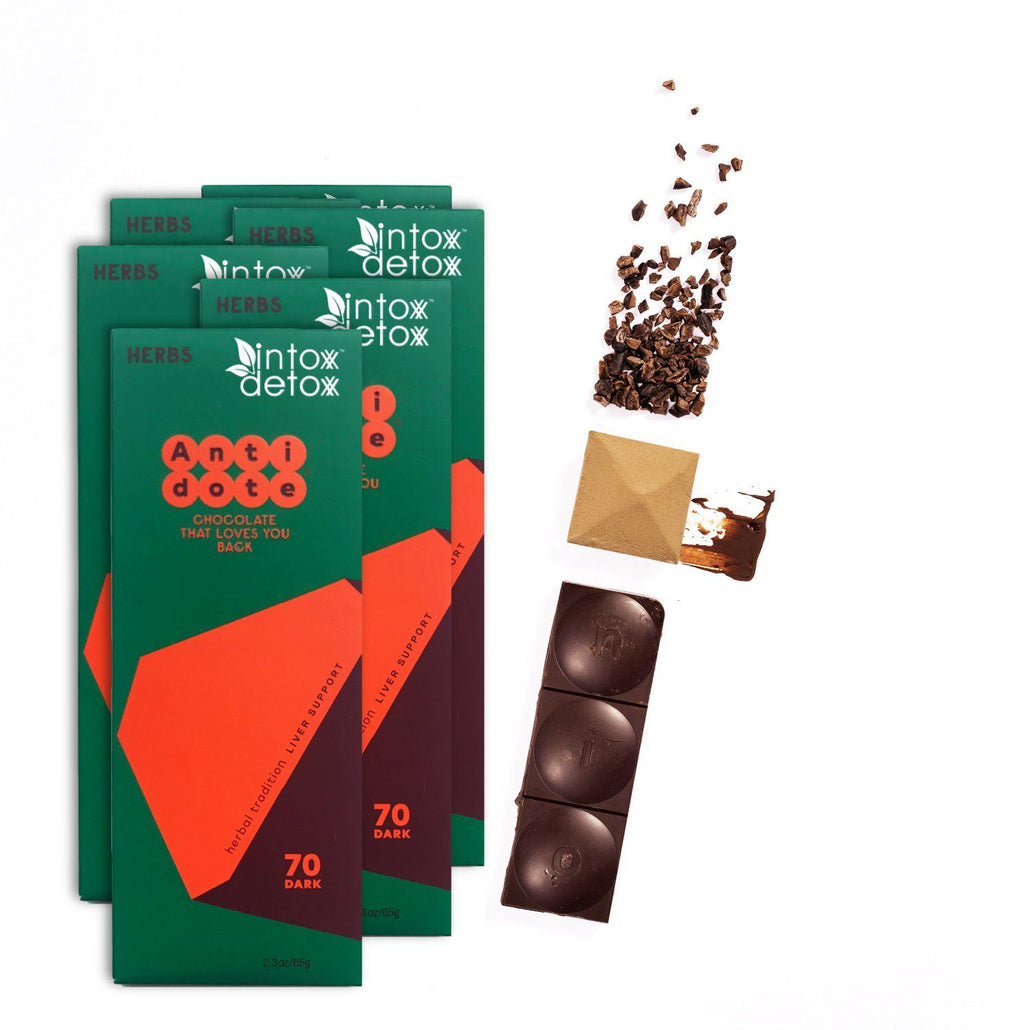 70% Cacao Liver Precovery Dark Chocolate - 6 Bars | NEW!
