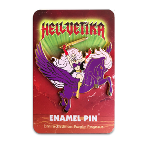 Hellvetika Purple Pegasus Pin