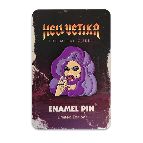 Hellvetika Purple Enamel Pin