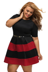 Burgundy Stripes Belted Skater Dress
