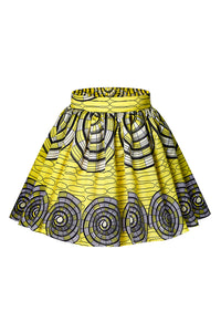 Yellow Circle Print Skater African Style Mini Skirt