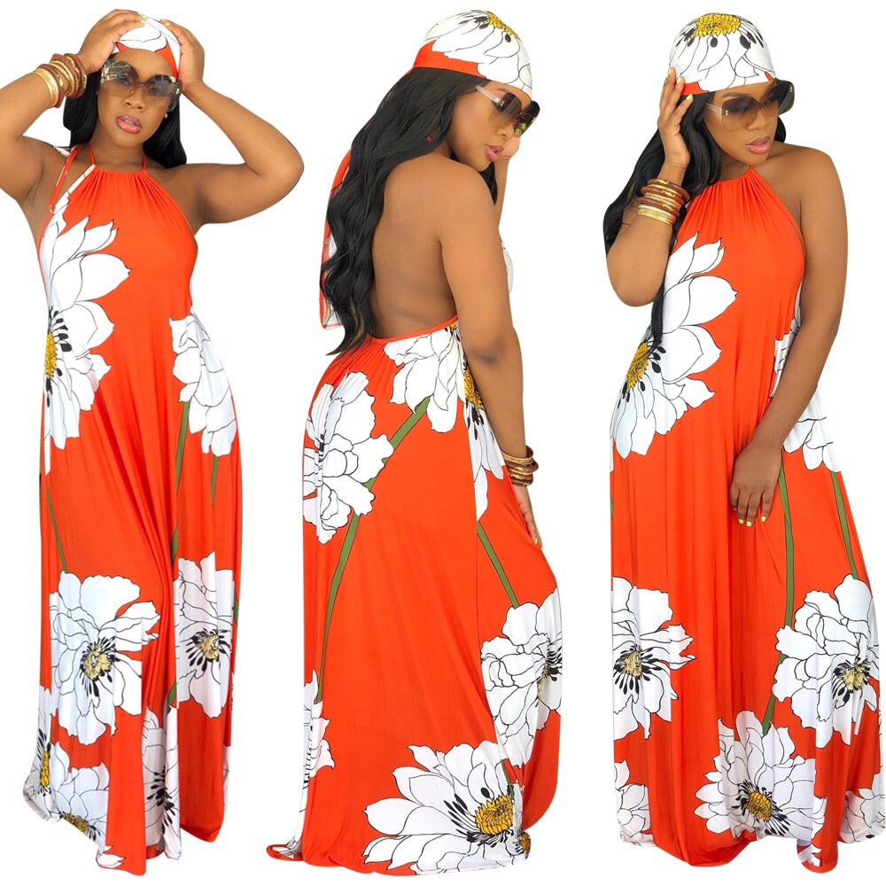 Orange Crush Halter Maxi Dress w/head scarf