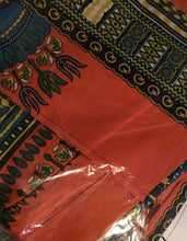Orange Dashiki Skirt w/pockets and matching head scarf