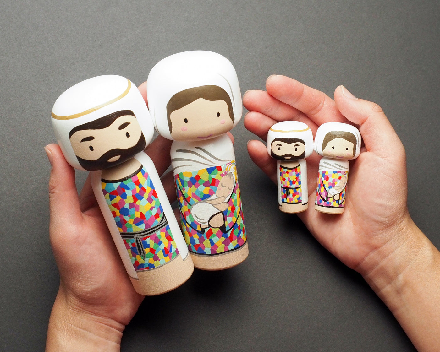 Christmas Nativity set - Tiny Kokeshi dolls