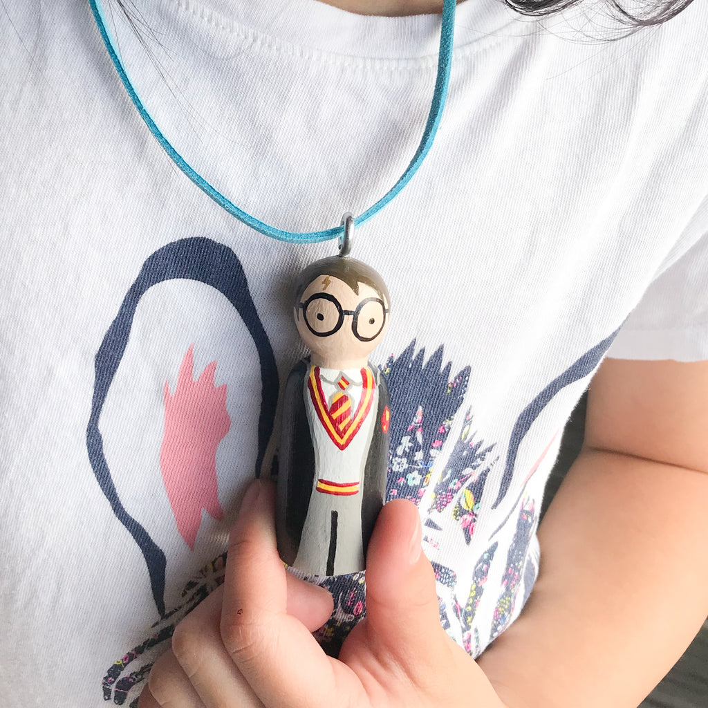 Personalized Necklace for kids.  Hand-painted Portrait and Favourite Character.
