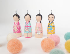 personalized peg doll necklace, ornament, family portrait
