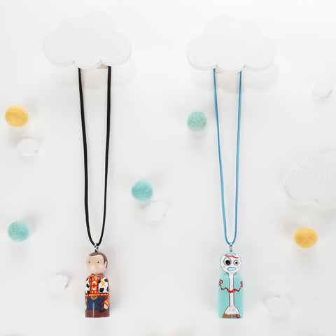 custom peg doll necklace - woody and forky