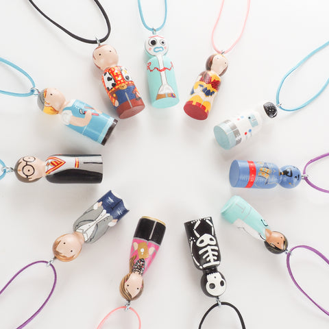 Personalized peg doll necklaces and ornaments