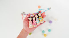 Personalized necklace - hand-painted peg doll