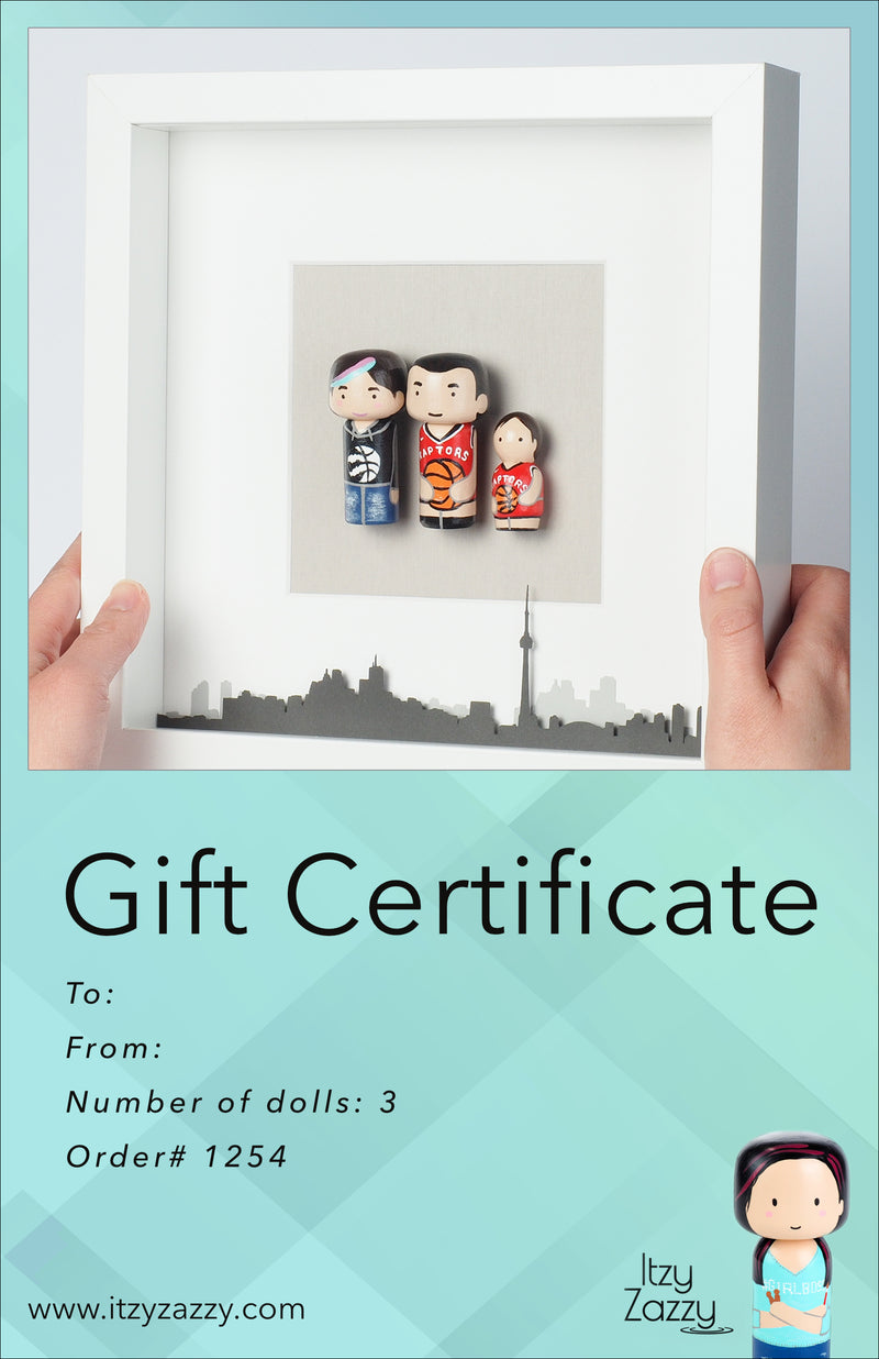 Family and Friends Portrait on Mini wooden dolls - Gift Certificate