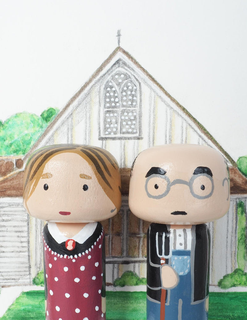 American Gothic Mini Kokeshi - Grant Wood (Limited Edition)