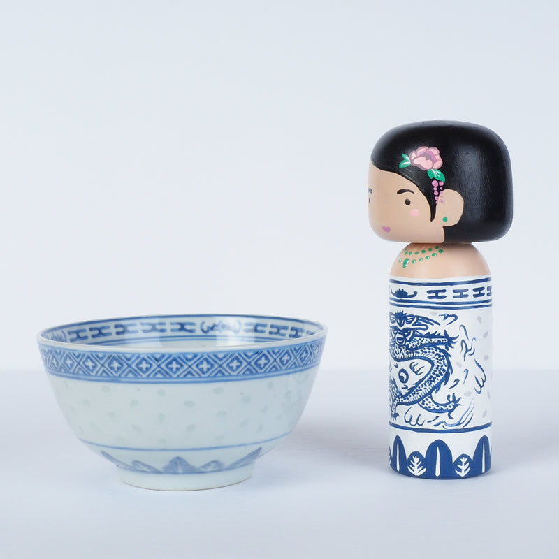 East Meets West Kokeshi - Asian Culture - Traditional White and Blue Rice bowl
