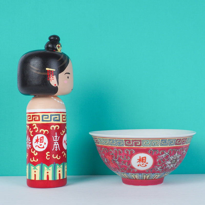 East Meets West Kokeshi - Asian Culture - Traditional Red Rice bowl