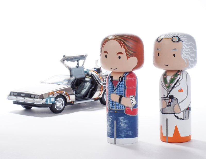 Back to the future - Marty and Doc Kokeshi hand-painted dolls