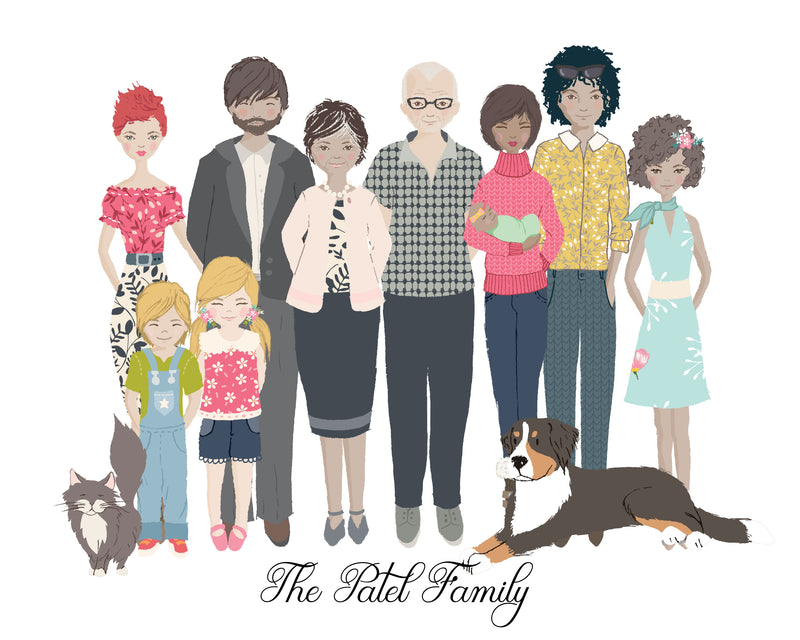 Family Portrait – Custom family illustration  Can't get the entire family for a photo session for a family portrait?  Custom family portrait illustration is the answer.  This Christmas, give something unique to your loved ones that touches their hearts.
