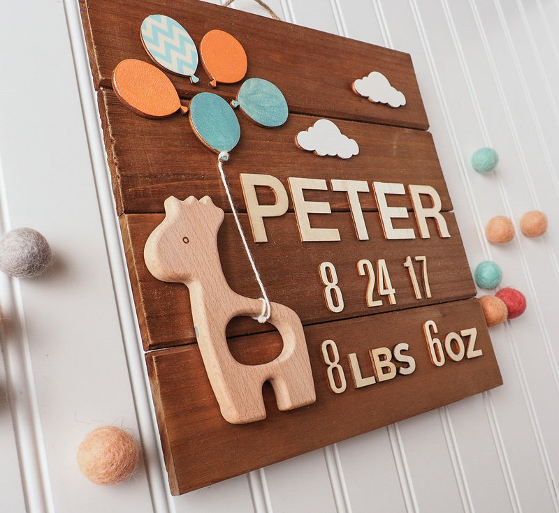 Birth announcement wall art - giraffe