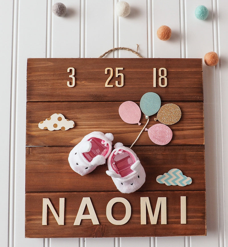 Birth announcement wall art