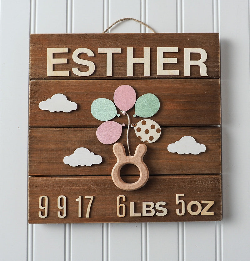 Birth announcement wall art - bunny teether