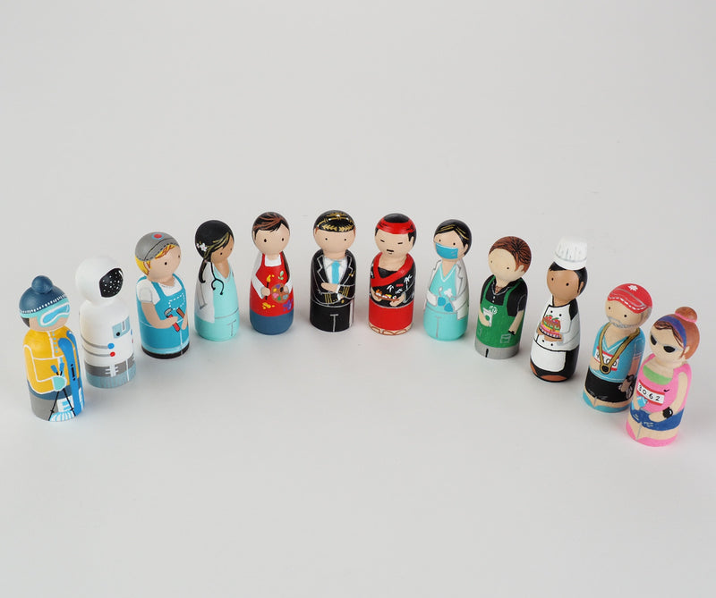 Occupation gift - Barista Peg dolls. Give something unique and personalized.  Custom peg dolls of your family, friends, or colleagues!  They are hand-painted that show the uniqueness of each individual with their hobbies or occupations.  This will definitely touch the heart and bring smiles.  These are great for birthdays, anniversary, parent's gifts, grandparent's gifts, retirement, graduations, communion, colleague's going away gift, or any other occasions.