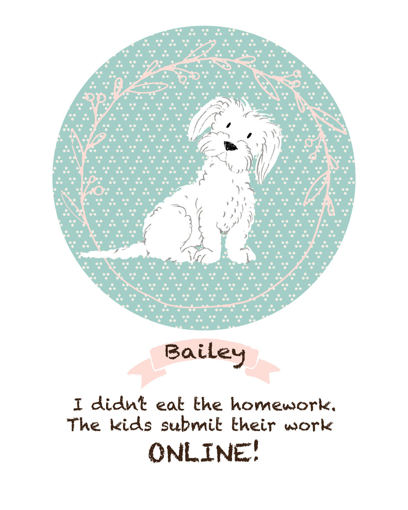 Personalized dog portrait - my dog ate my homework