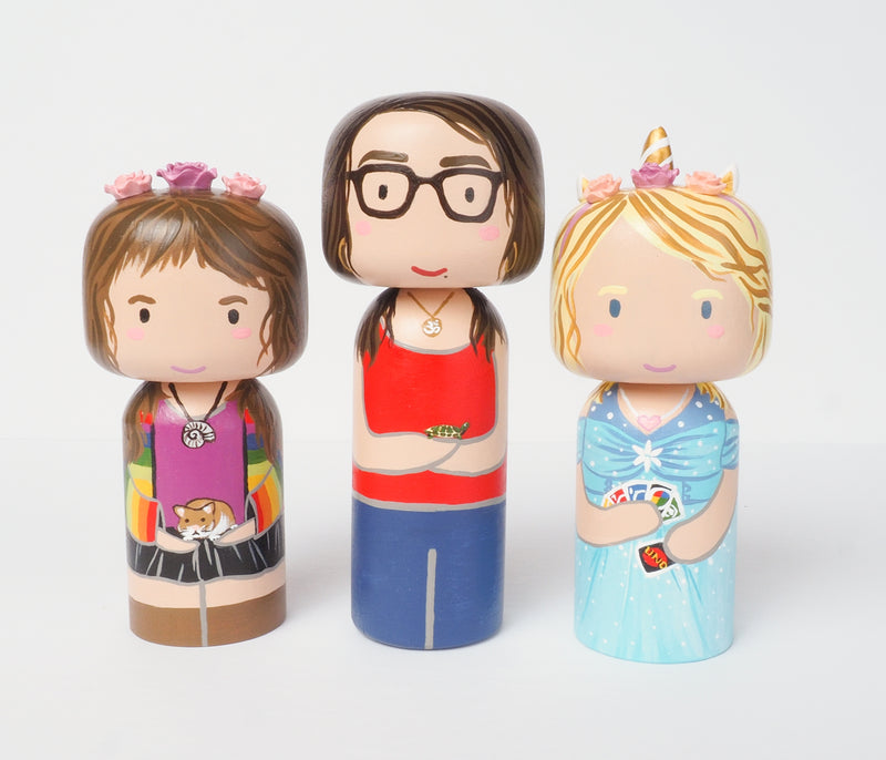 Introducing our new family portrait Kokeshi dolls!  Give something unique and personalized.  Customize your family, friends, or colleagues on Kokeshi dolls!  They are hand-painted with love that show the uniqueness of each individual.   This will definitely touch the heart and bring smiles of your special someone.  These are great for birthdays, Christmas, anniversary, parent's gifts, grandparent's gifts, retirement, graduations, colleague's going away gift, or any other occasions.