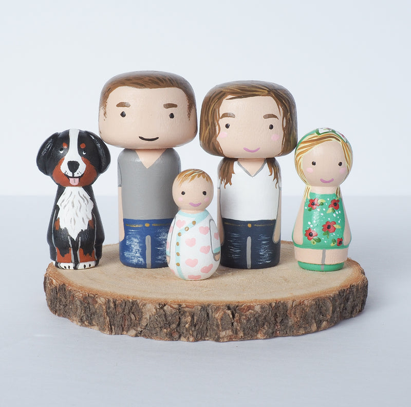 Family portrait mini Kokeshi with pets