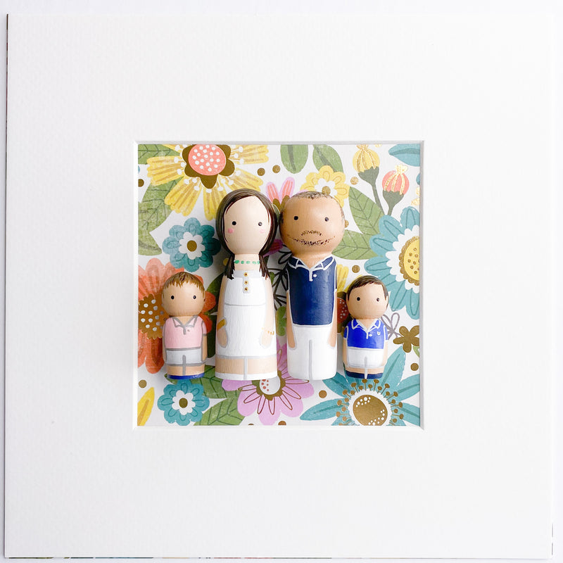 Family and friends portrait Peg Dolls