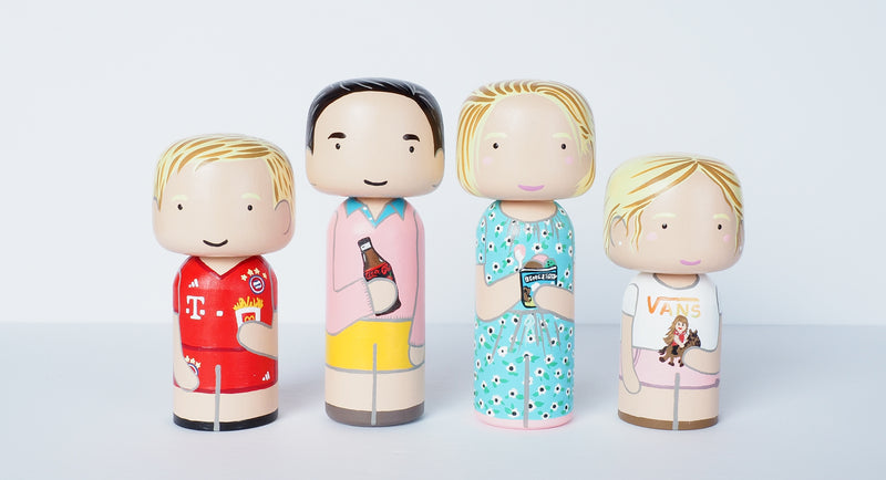 Christmas Gift - Customized Family Portrait Kokeshi Dolls