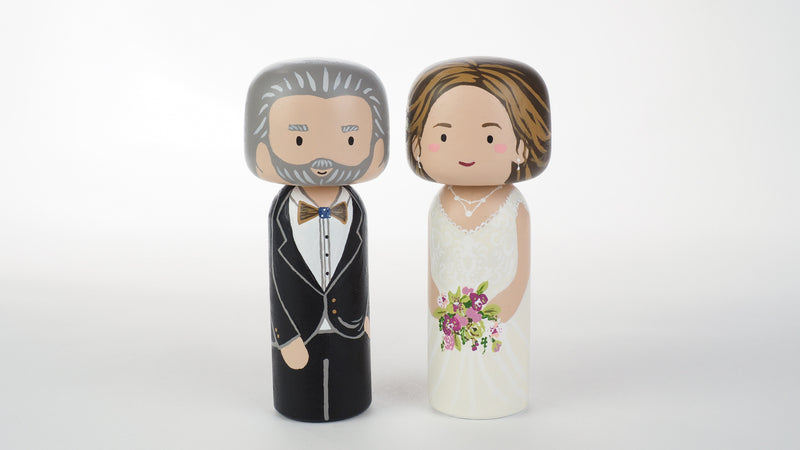 Customized Father of the Bride wedding Kokeshi dolls, Peg Dolls! Father of the Bride, he is as important as the Bride on the BIG day. Congratulations to all the Brides' dads. These cute Kokeshi dolls show the unique sides of bride and father of the bride. A great touch of personality to your wedding. What a great keepsake it would be!