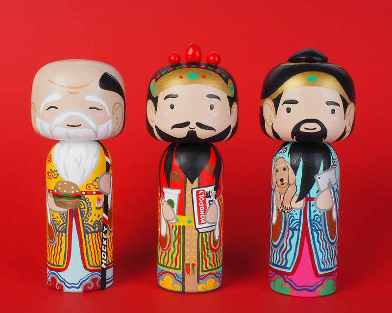 East Meets West Kokeshi - Asian & Western Culture - Fuk Luk Sau Home Decor
