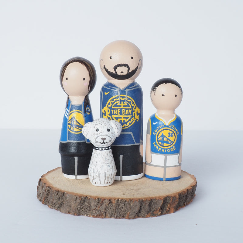 Golden State Warrior Family portrait peg dolls Father's Day gift
