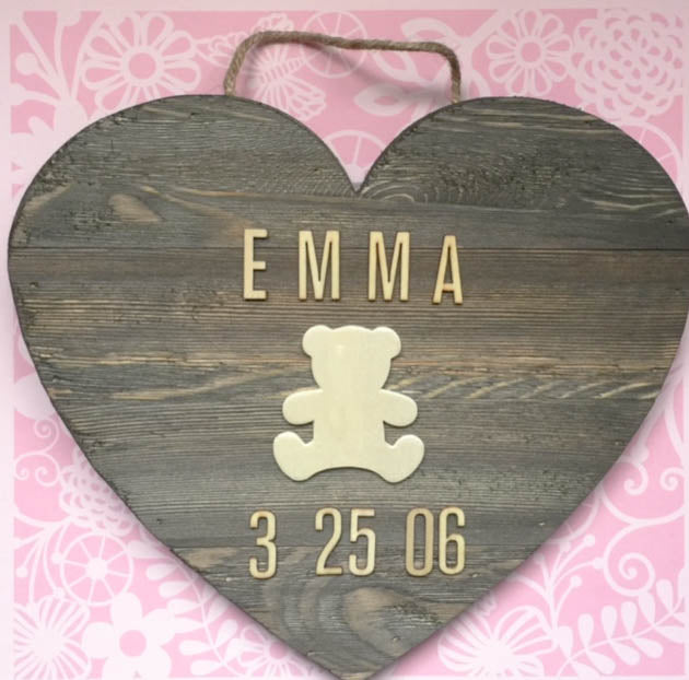 Personalized Wooden Teddy Kid's Decor