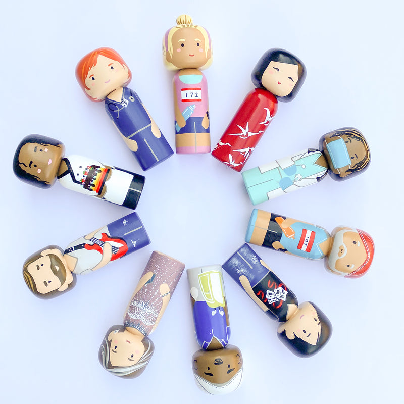 We are all one big family. Customized Family Portrait Kokeshi Dolls