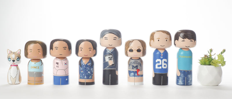 Customized Family Portrait Kokeshi Dolls