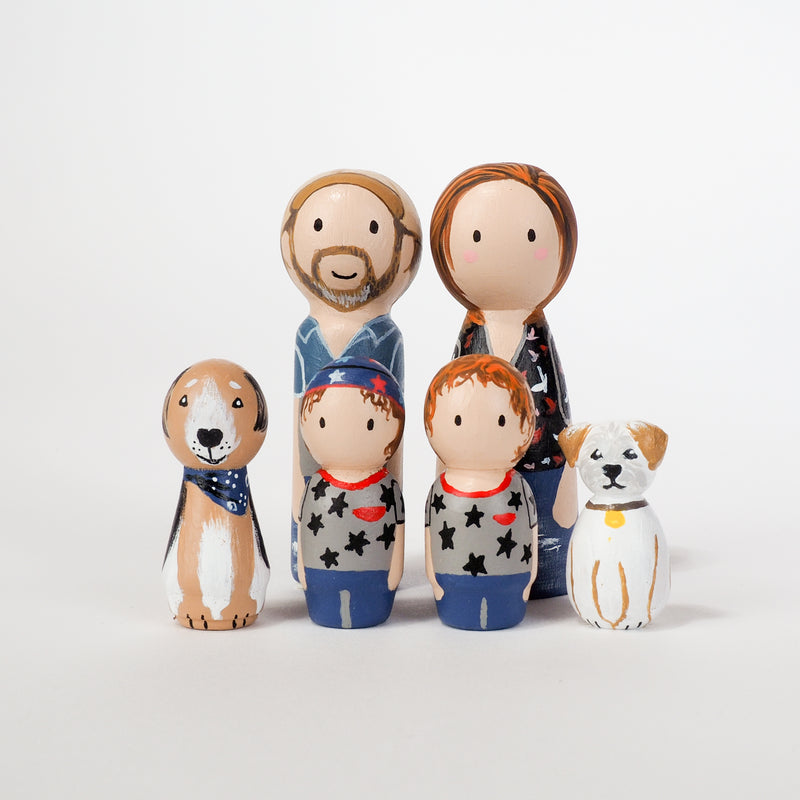 Give something unique and personalized.  Custom peg dolls of your family!  They are hand-painted that show the uniqueness of each individual in your family.  This will definitely touch the heart and bring smiles, may be even happy tears to your family.   These are great for Christmas gifts, parent's gifts, grandparent's gifts, birthdays, anniversary gifts, couples' gifts, or any other occasions.