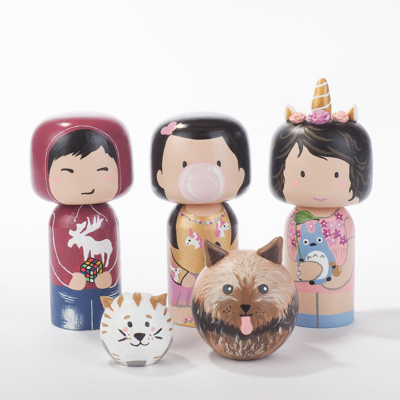 Introducing our new family portrait Unicorn Kokeshi dolls!  Give something unique and personalized.  Customize your family, friends, or colleagues on Kokeshi dolls!  They are hand-painted with love that show the uniqueness of each individual.