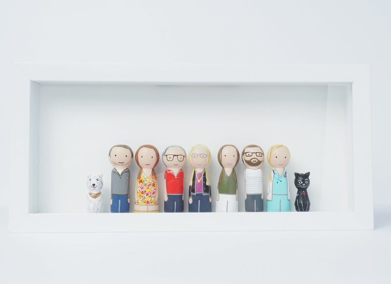 Shadow box framed Big Family portrait - Peg Dolls